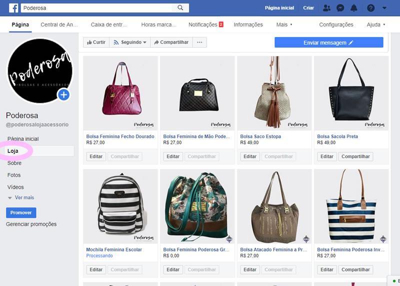 loja virtual no facebook com pagseguro