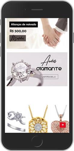 Loja Virtual Joalheria Mobile Produtos
