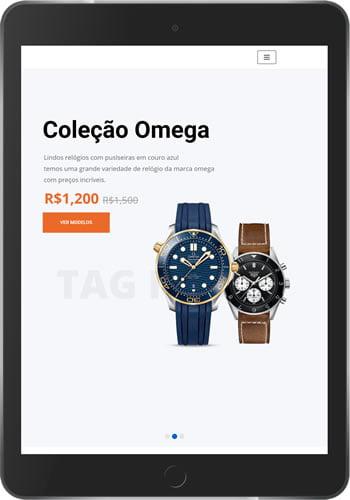 Loja virtual de relógio e presentes tablet