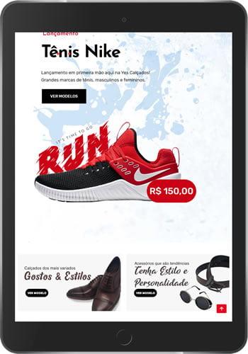 loja virtual calaçados tablet