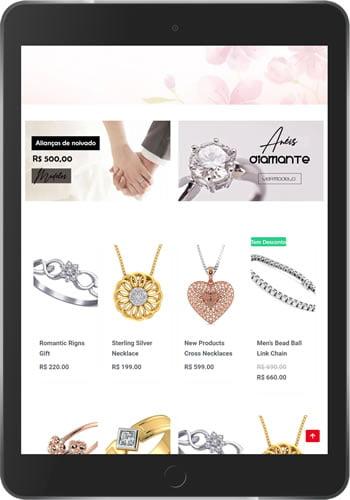 loja virtual joias tablet produtos